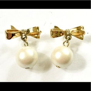 Kate Spade BOW pearl earrings gold